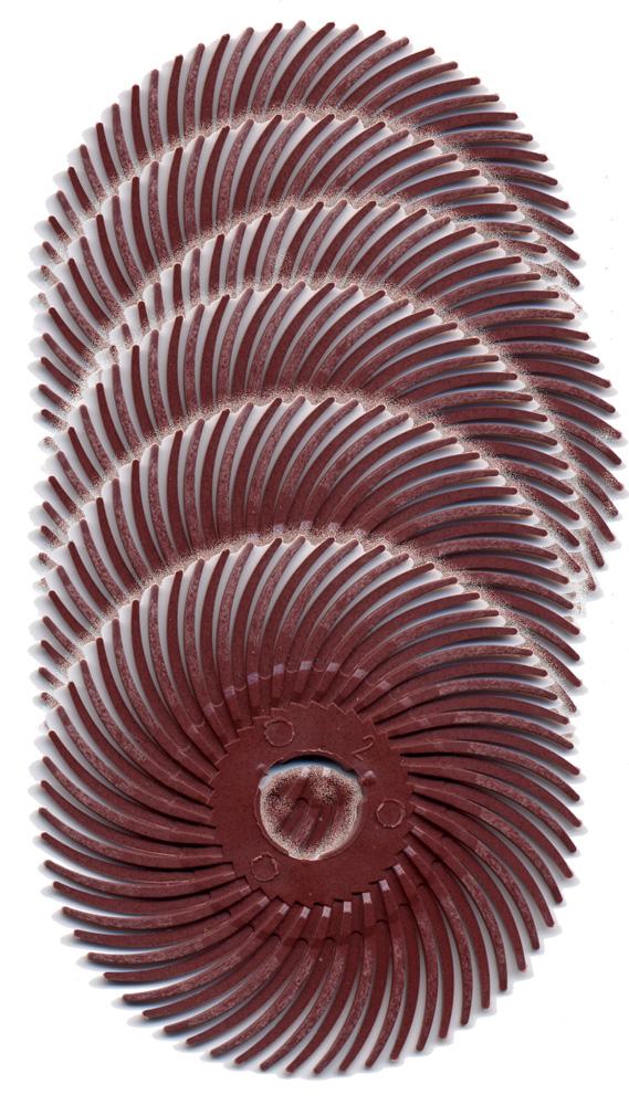 3M Scotch-Brite Radial Bristle Discs, 2″ diameter 220 grit/red