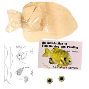 Fish Carving Kit Basswood, BLUEGILL SUNFISH