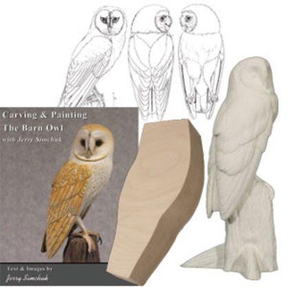 Kit- BARN OWL (1/2 LIFESIZE) Tupelo WOOD CARVING KIT, Jerry Simchuk