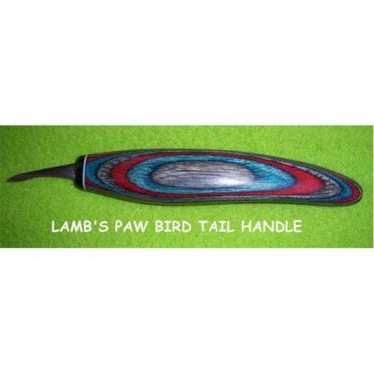 "Helvie Knife, Lamb's Paw Detail, Bird Tail  3/16"" x 1 1/4"""